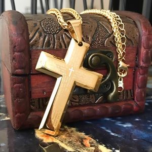 Other - Gold Lord's Prayer Stainless Steel Cross Necklace